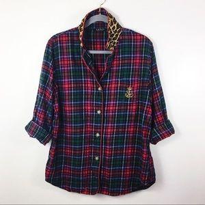 RALPH LAUREN Cheetah Flannel PJ Top Button Up :F
